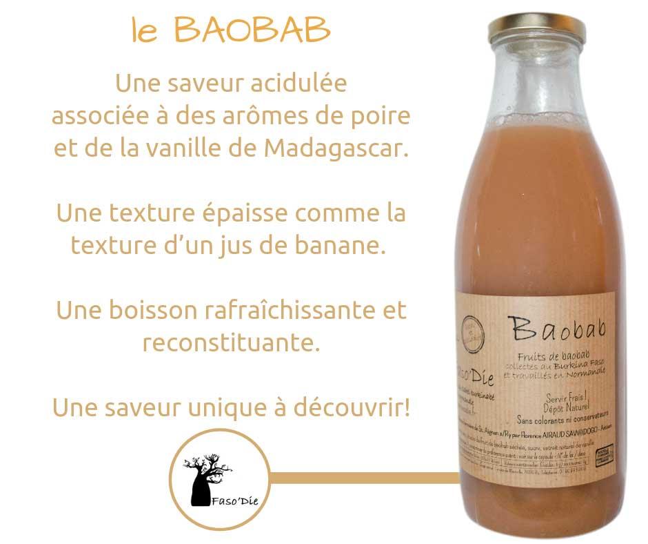 Notre jus de Baobab est une boisson rafraîchissante et reconstituante avec une texture épaisse comme la texture d'un jus de banane.