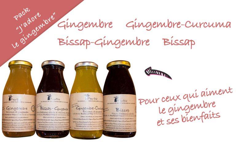 """Pack """"J'adore le Gingembre"""": pour ceux qui aiment le gingembre et ses bienfaits. Contient une bouteille de 25 cl des boissons suivantes: Gingembre, Gingembre-Curcuma, Bissap-Gingembre, Bissap"""