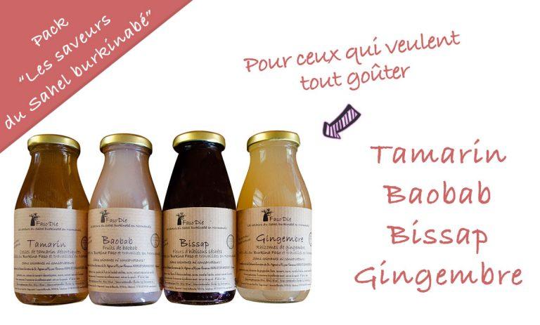 """Le pack découverte """"Les saveurs du Sahel burkinabé"""" contient 4 bouteilles de 25 cl des boissons suivants : Tamarin, Baobab, Bissap, Gingembre"""