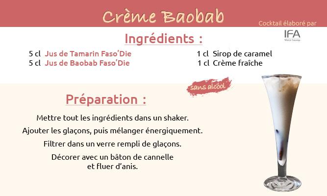 Fiche cocktail Crème Baobab