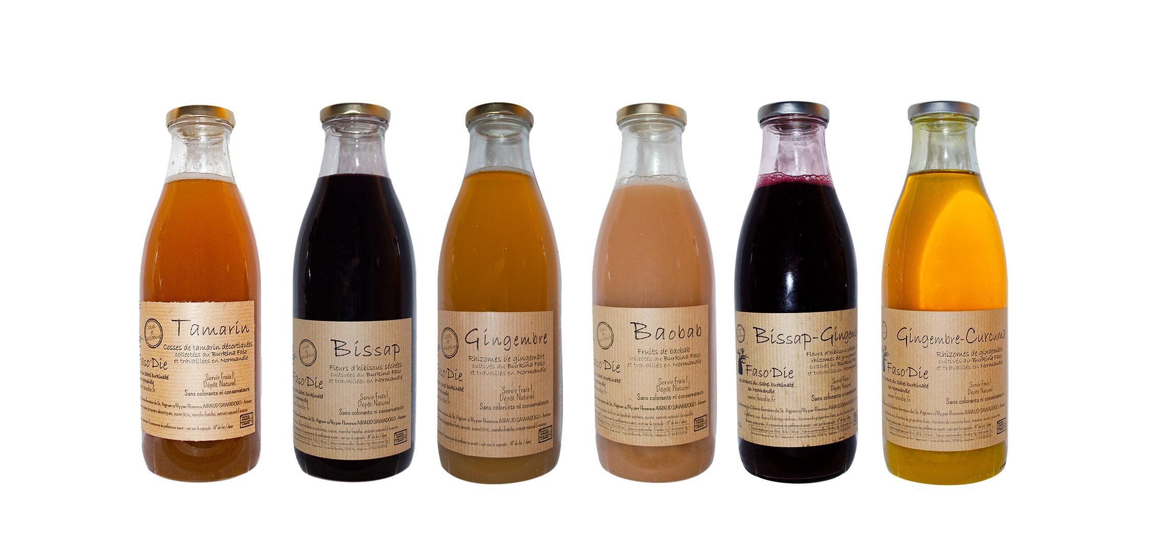 6 bouteilles de jus Faso'Die